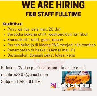 Lowongan Kerg ja F&B Staff Full Time Pasir Kaliki Bandung November 2019