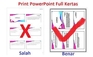 4 Cara Print PowerPoint Full Kertas [2/4/6/9 Slide Full Kertas]