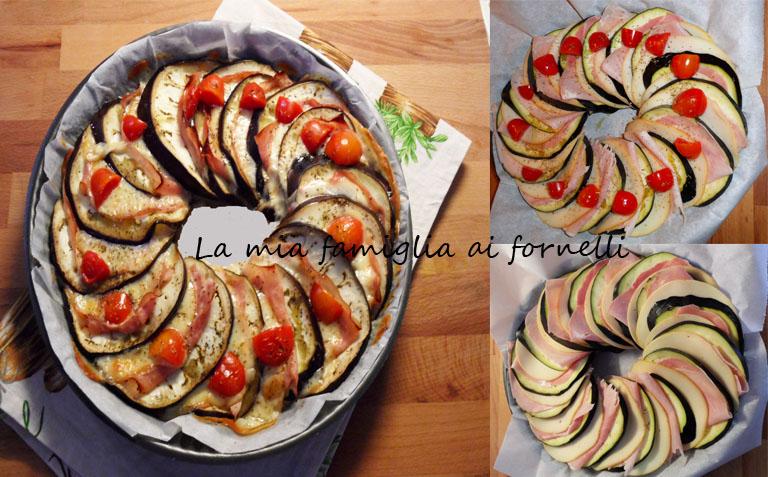 La mia famiglia ai fornelli: corona di melanzane con prosciutto e