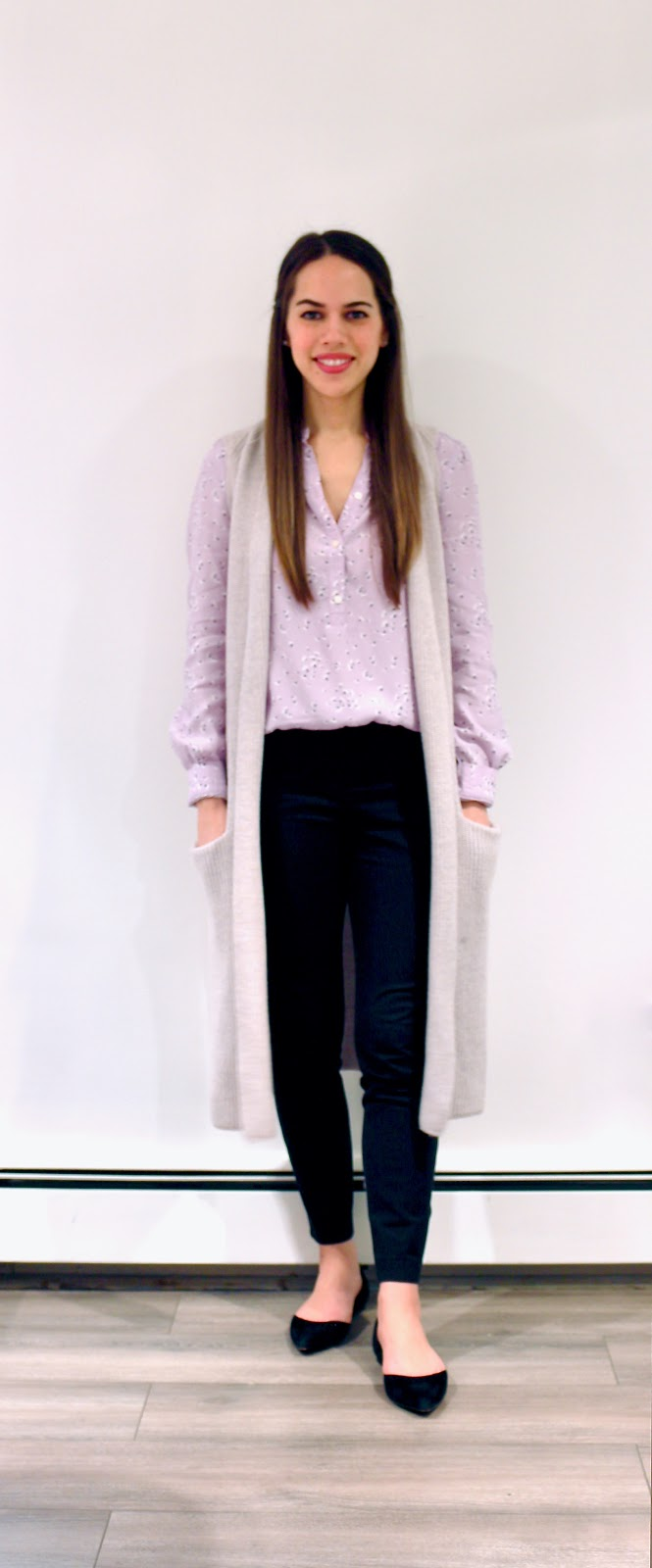 Jules in Flats - Lilac Floral Blouse with Long Knit Vest (Business Casual Winter Workwear on a Budget)