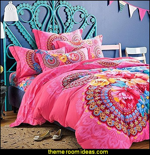 Pink Flower Bohemian Style Bedding Set Boho Style Bedding Set Boho Duvet Cover Set Cotton Bedding