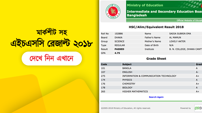 HSC Result 2018 by Official website
