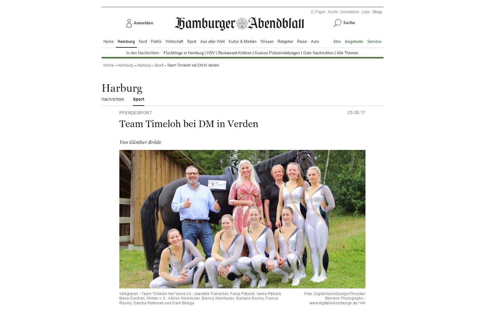 Fotoveröffentlichung von Thorsten Behrens Photography im Hamburger Abendblatt