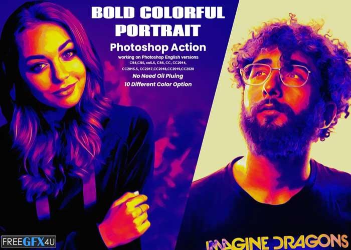Bold Colorful Portrait PS Action