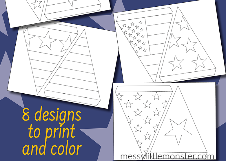 Fourth of July crafts. making bunting template