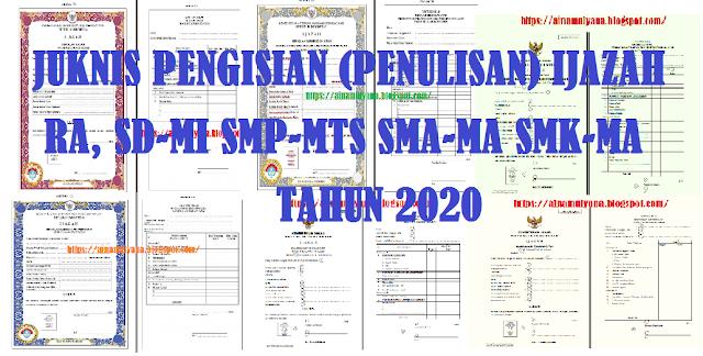 JUKNIS PENGISIAN (PENULISAN) IJAZAH SD SMP SMA SMK TAHUN 2020