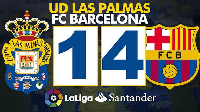 Marcador UD Las Palmas 1 - 4 FC Barcelona