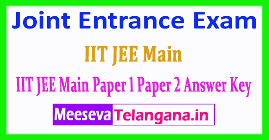 IIT JEE Main Answer Key Joint Entrance Exam 2018 Answer Key Download
