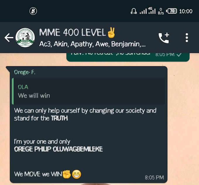 A 400 level undergraduate Student of FEDERAL UNIVERSITY OYE EKITI Threatens to commit suicide