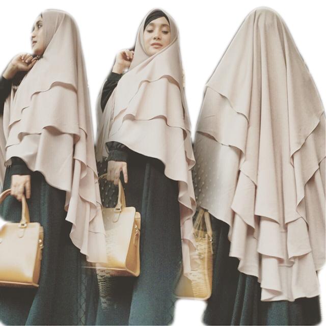 Hijab Jilbab Khimar Syari Jumbo Kinari 3 Layer