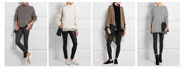 Кожаные брюки и леггинсы со свитером