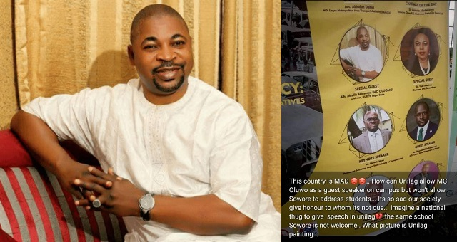 UNILAG Denies MC Oluomo, Says It Didn't Approve Banner With His Photo