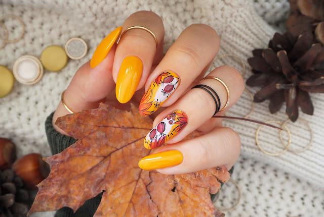 Musztardowe paznokci + jesienne zdobienia | Nails Company
