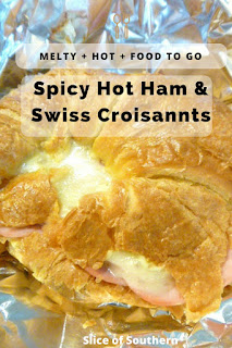 Food to Go:  Spicy Hot Ham & Swiss Croissants - Steamy hot sandwiches fresh from the oven that are so mouthwatering, and travel like a dream! Slice of Southern