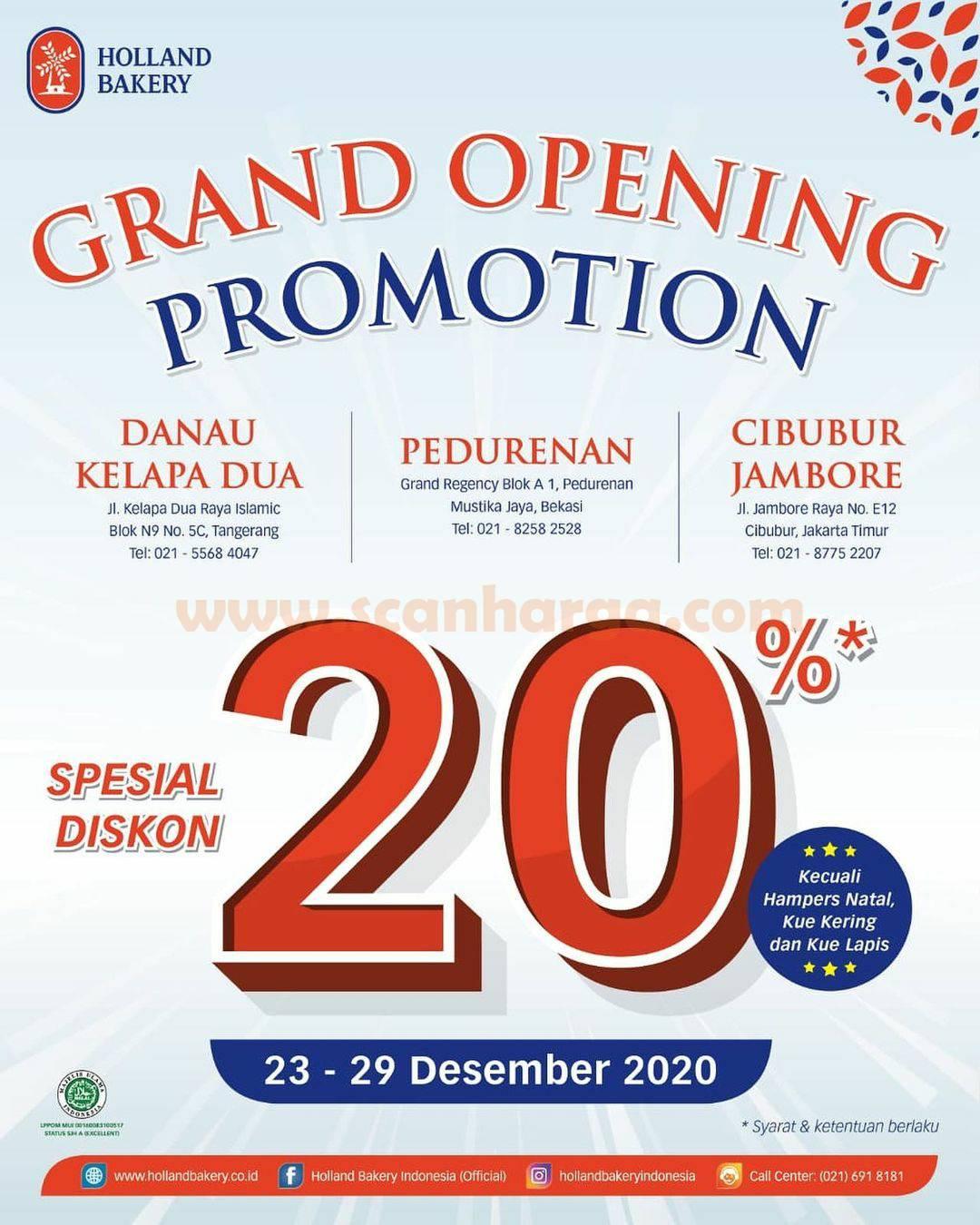 Holland Bakery Danau Kelapa Dua, Pedurenan & Cibubur Jambore Opening Promo Diskon 20%