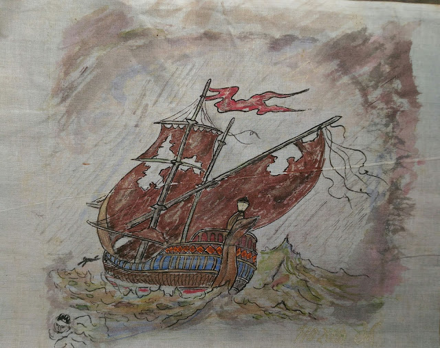 Fabric painting ship