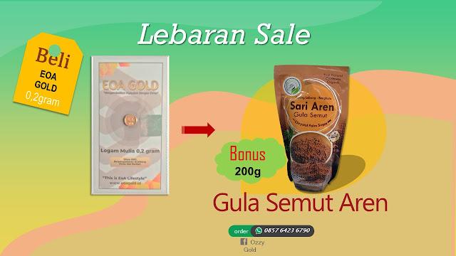Emas EOA 0,2 gram Bonus Gula Semut Aren 200 Gram.