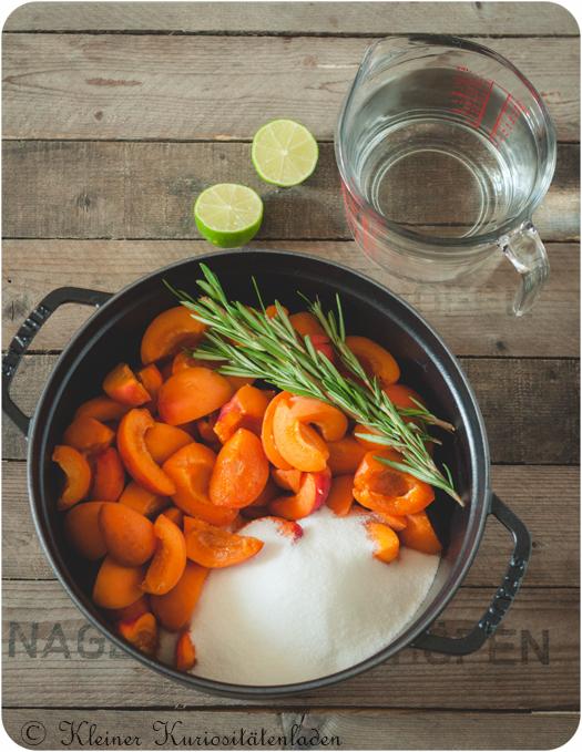 Aprikosen-Rosmarin-Sirup vor dem Kochen