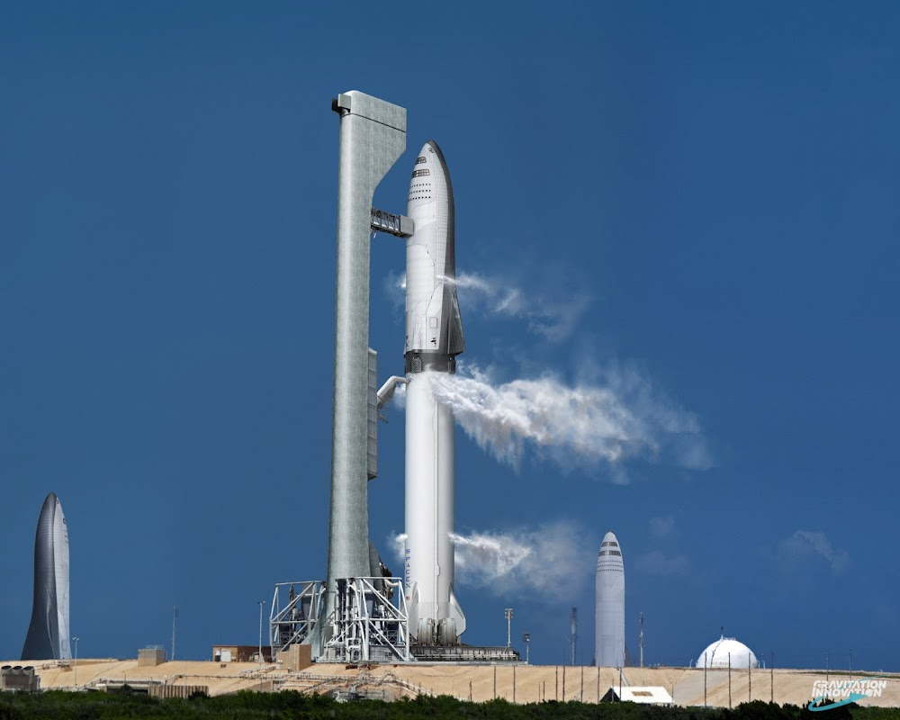 SpaceX Big Falcon Rocket (BFR) launch preparation by Gravitation Innovation