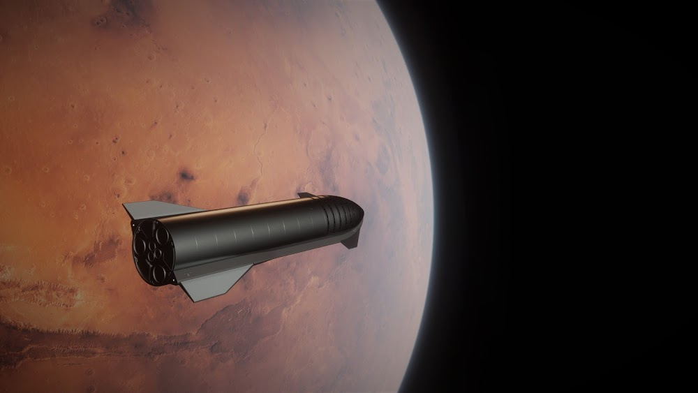 SpaceX Starship approaching Mars by Dale Rutherford