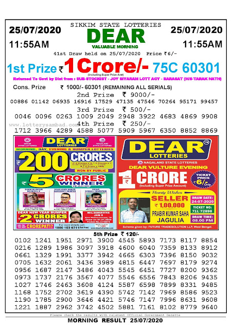 Sikkim State Lotteries 25-07-2020 Lottery Sambad Result 11;55 AM
