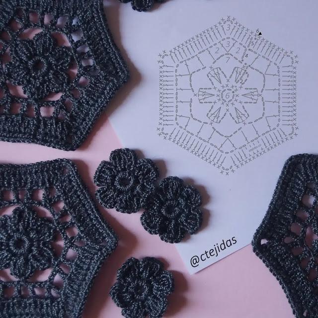 Patrón Motivo Hexagonal con Flor a Crochet