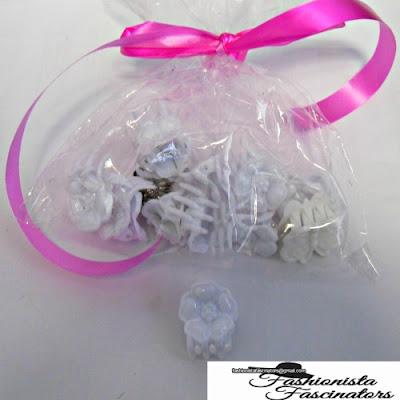White flower butterfly hair clips