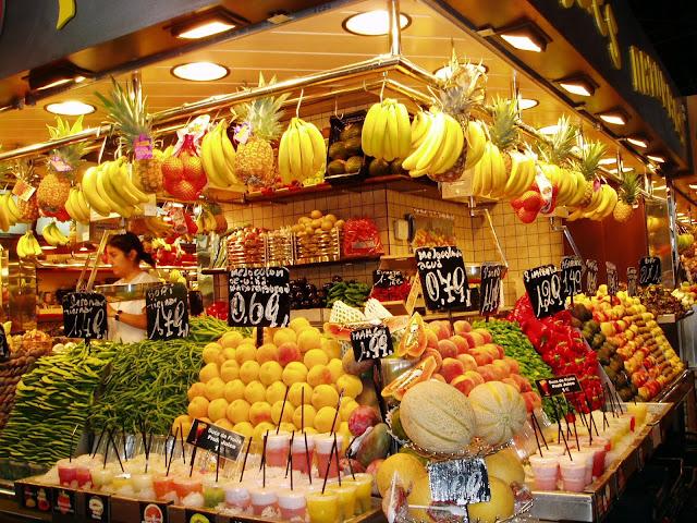 Frutas no Mercat de la Boqueria