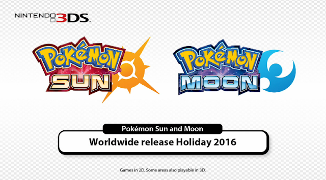 Pokémon Sun Moon Nintendo 3DS worldwide release holiday 2016 announcement logos