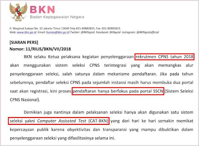 siaran pers bkn tentang mekanisme pendaftaran cpns 2018
