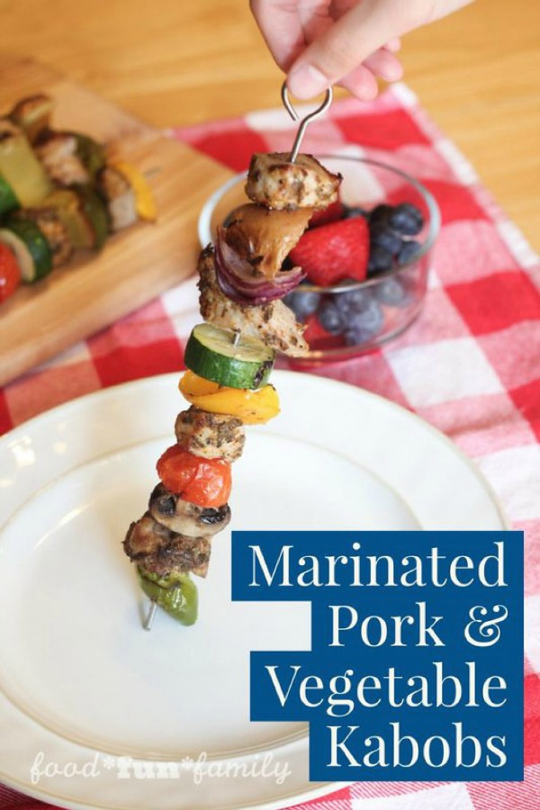 Marinated Pork and Vegetable Kabobs from Food Fun Family