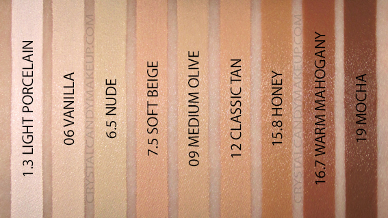 NYX Born To Glow Naturally Radiant Foundation Swatches 1.3 Porcelain 06 Vanilla 6.5 7.5 Beige 09 Olive 12 Tan 15.8 Honey 16.7 19 Mocha MAC NW10 NC15 NC30 NC35 NC45 NC50