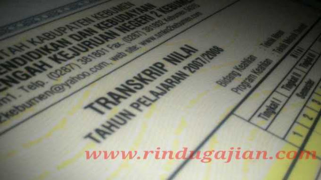 transkrip nilai untuk melamar pekerjaan