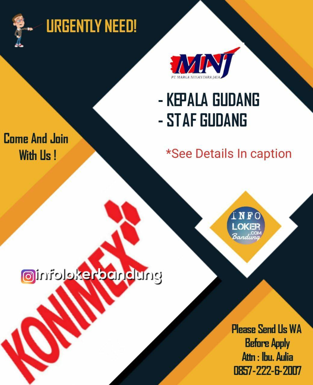 Lowongan Kerja PT. Marga Nusantara Jaya Abadi ( Konimex Group ) Bandung Juli 2018