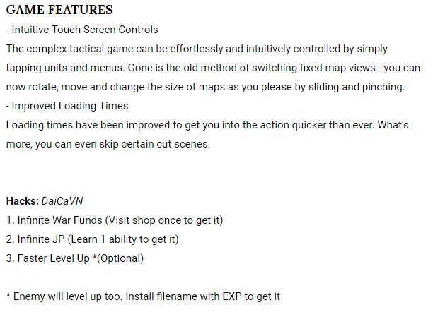 Final fantasy tactics wotL game details