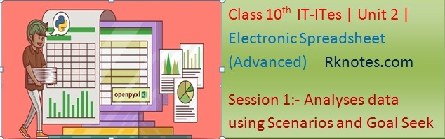 Class 10th unit 2 notes, Electronic Spreadsheet (Advanced) hindi notes