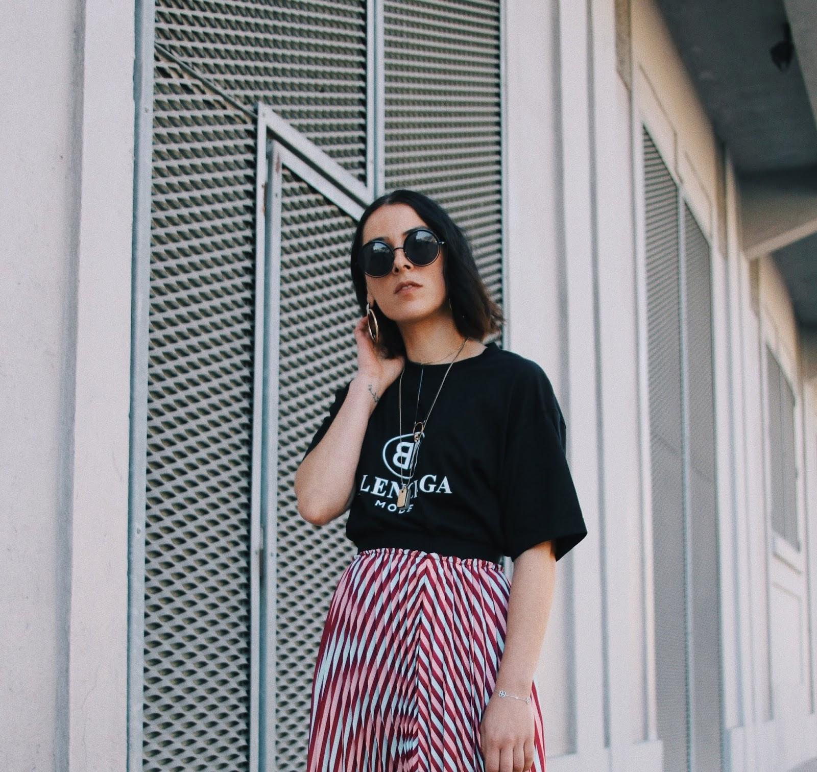 idée de look printemps/été 2018, rayures, ros