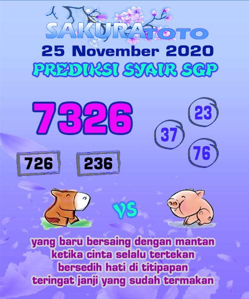 Syair Sakuratoto SGP Rabu 25 November 2020
