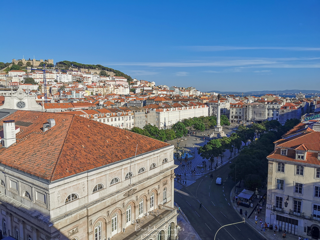 View over Rossio, Lisbon, at Rossio Gastrobar Rooftop. All photos by Barbara Santos (Huawei P30 Pro)