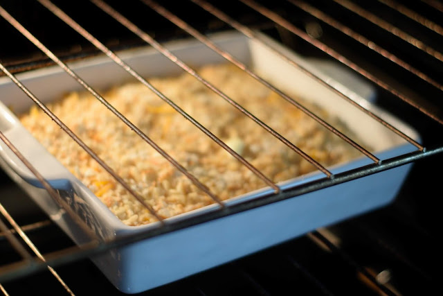 The Ritz Cracker Chicken Bake in the oven.
