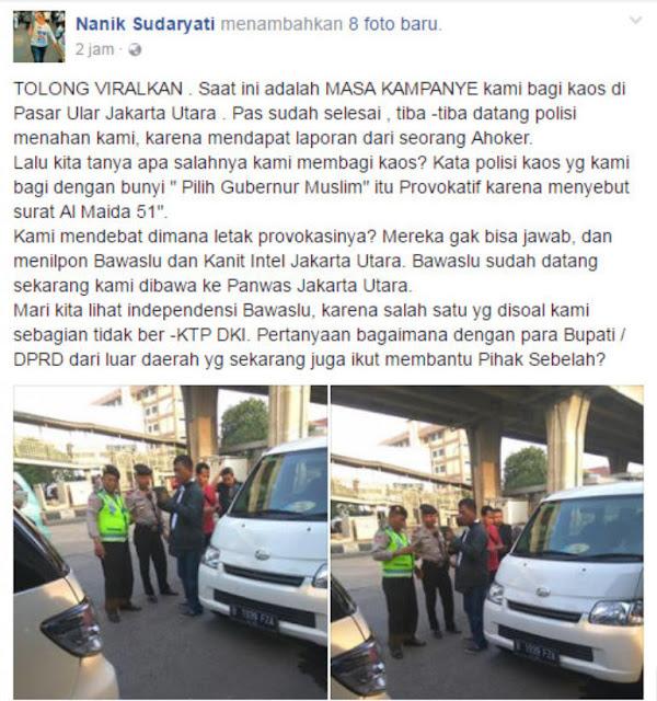 Bagi-bagi Kaos Al Maidah 51, Jurnalis Senior ini Ditangkap dan Dibawa ke Kantor Panwas oleh Polisi