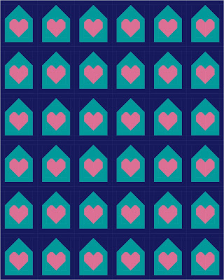 Stay at Home quilt block - a simple heart inside house quilt block to sew while you shelter in place