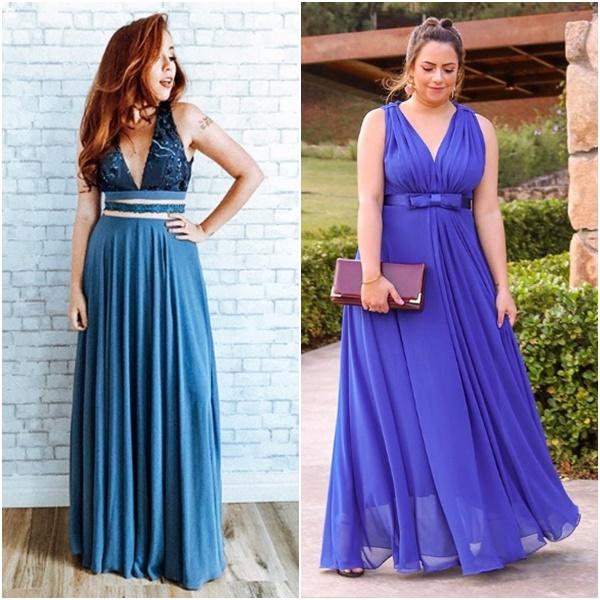 Casamento Niina Secrets: Look das Convidadas Bruna Vieira Pripoka Vestido Azul Festa