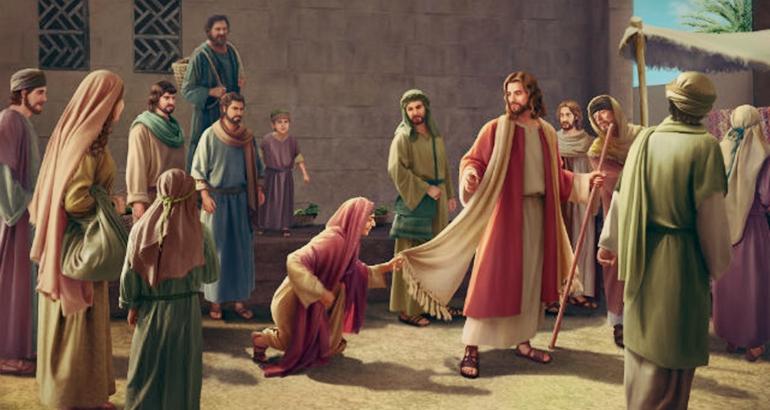 Jesus, compadecendo-se daquela mulher, curou-a, não porque ela tocou nas suas vestes, mas porque tinha fé.