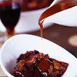 BabyBakes: Chocolate Ganache Bread Pudding with Rosemary Port Caramel Sauce