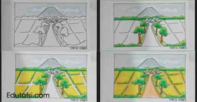 Cara mewarnai pemandangan dengan oil pastels step by step