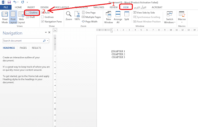 view outline ms word