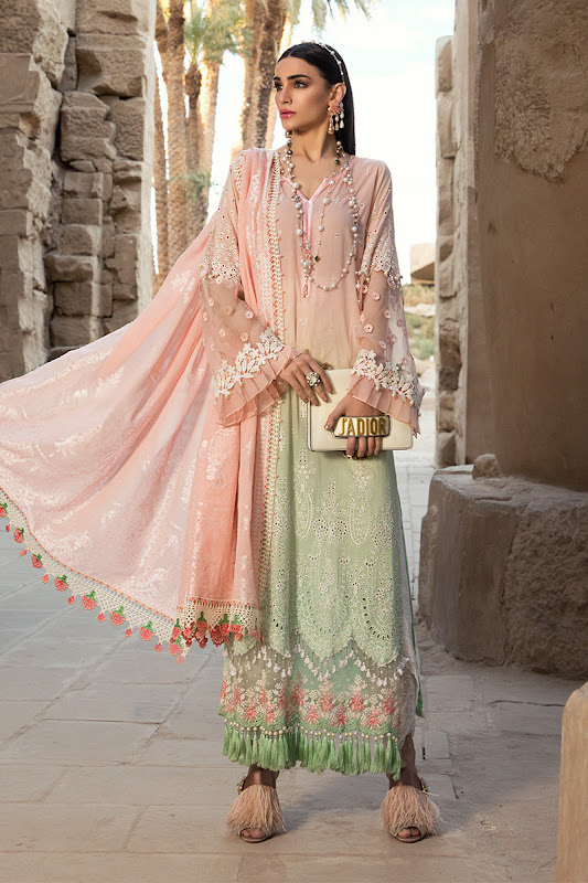 Maria B lawn summer suit pink & green color
