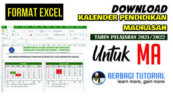 Download Kalender Pendidikan MA Tahun Pelajaran 2021/2022 Format Excel