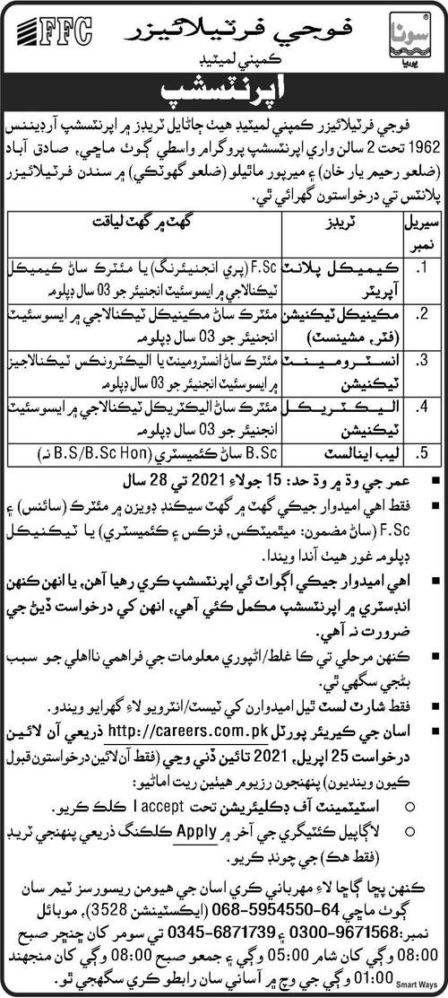Latest Fauiji Fertilizer Company Limited FFCL Apprenticeship program For Chemical Plant Operator, Lab Analyst & more